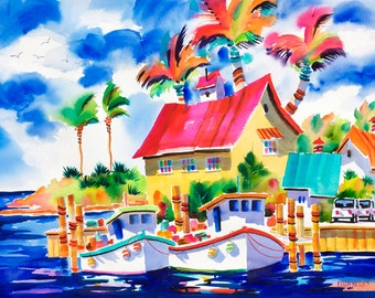 Beach Art, Florida Art, Watercolor Print, Jupiter, Florida, Colorful Painting, Ellen Negley, Fishing Boats, 11 x 14, 16 x 20 or 20 x 24