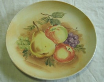 """Lefton China, Hand Painted, Apples, Grapes, Pear, 8 1/8"""", decorative plate, wall plate"""