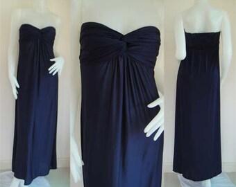 Navy Blue  strapless long maxi dress sun beach dress all size