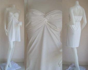 White Strapless  sun beach short dress all size