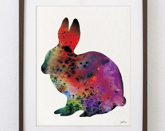 Rabbit Art Watercolor Painting - 5x7 Archival Print - Pink Bunny Colorful Art - Bunny Silhouette Wall Art