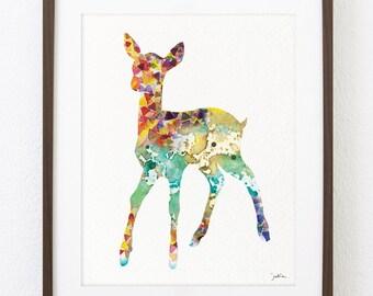 Deer Art Watercolor Painting - Minimalist Art, Geometric Art - 8x10 Archival Print - Turquoise Deer Print - Deer Silhouette Art
