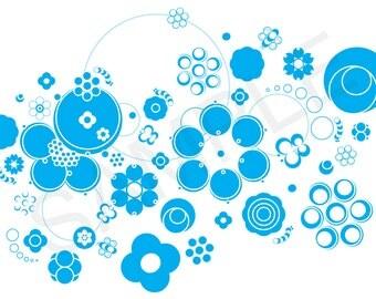 Blue Graphic Circle Floral Illustration - Clip Art - Graphics - Patterns