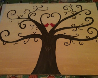 Hand Painted Fingerprint Wedding Guest Book Tree 16 x 20