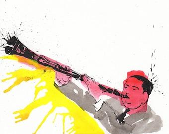 Print of  New Orleans jazz clarinetist, Jimmie Noone