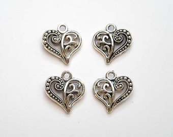 10 Antiqued Silver Ornate Heart Charms ASPOHC13-10CB