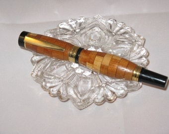 Segmented Titan Roller Ball Pen ( Maple, Rosewood and Wenge)(24Kt Gold finish)--Includes Havana wood  Pen Box