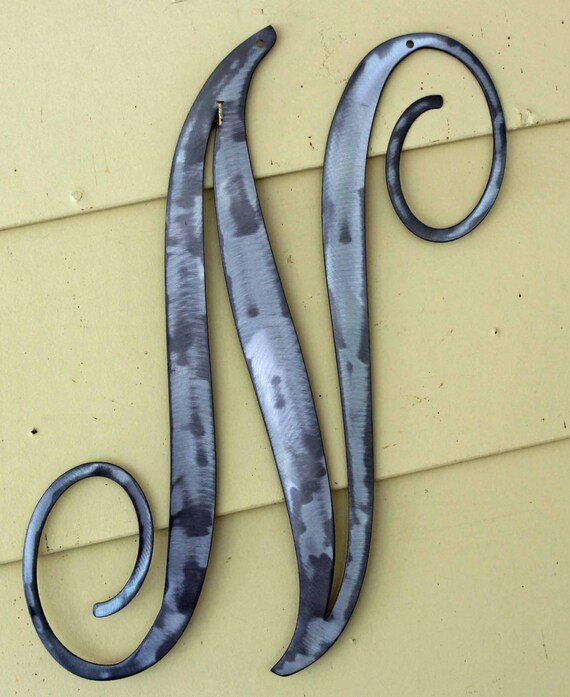 Polished metal initials hudsonmetalworks for 3 inch black metal letters