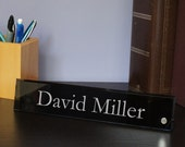 """Design's 10"""" Desk Nameplate - Glass Nameplate with Font Selection and Choice of Pin Color (Select Glass Color and Pin Color)"""