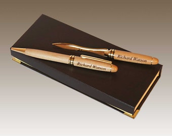 Design's Maplewood Personalized Pen and Letter Opener Set with Font Selection and Personalization Options (Presentation Box Included)