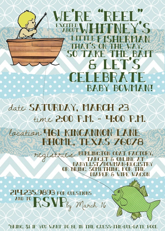 items similar to fishing themed baby shower invitation digital on