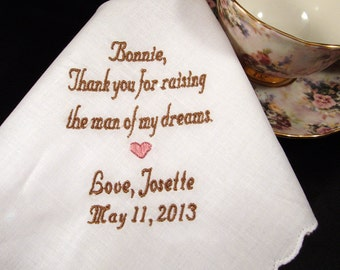 Personalized Mother of the Groom Handkerchief, Raising The Man Of My Dreams  Wedding Day Keepsake - Thread Born Memories