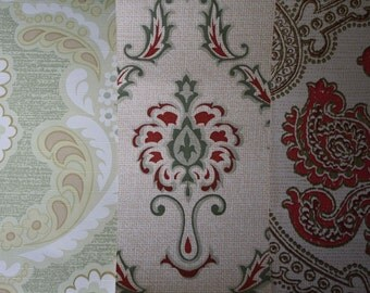 Scrap pack of vintage wallpaper, 15 sheets, 29 x 21 cm, free shipping