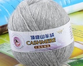 1 Skein Ball Cashmere Knitting Weaving Wool Yarn - Light Grey / 95 percent goat cashmere, 5 percent mink cashmere / About 437 yards / 47-52g