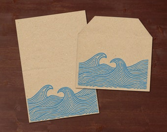 Wild waves - handprinted stationery // recycling paper