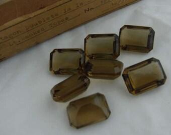 24x vintage smoky topaz crystal glass octagon stones 18x13mm