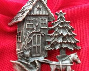 vintage cast metal Christmas brooch pin