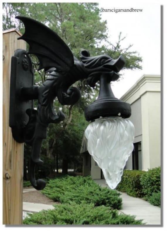 Victorian Replica Gargoyle Outdoor Light Fixture With Wings