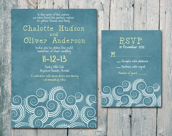 Digital - Printable Files - Summer Beach Wedding Invitation and Reply Card Set - Wedding Stationery - ID152