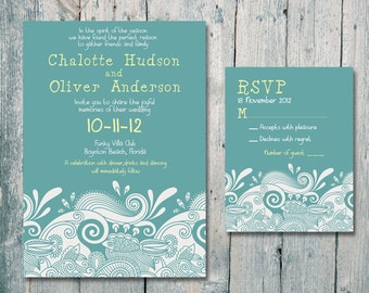 Printed Card | 40-75 Sets | Sea, Fish and Sunshine Wedding Invitation and Reply Card Set - Wedding Stationery - ID96