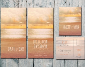 Digital - Printable Files - Double-sided - Sand, Beach and Sunshine Wedding Invitation and Reply Card Set - Wedding Stationery - ID137