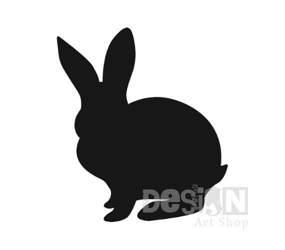 Rabbit Silhouette Digital Download  - Printable Graphic - Iron On Transfer