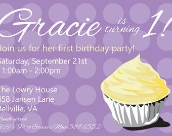 Cupcake Birthday Party Invitation - Purple and Yellow - Girl Birthday - Printable