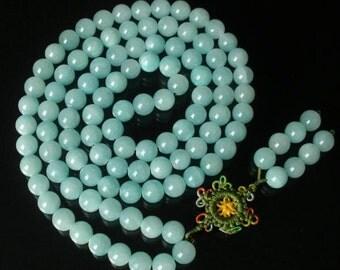 Tibet Light Blue Stone 10mm 108 Beads Beaded Buddhism Buddha Prayer Mala Necklace