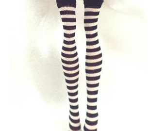 Dolls stockings for Monster high doll   White and black stripes   No.697