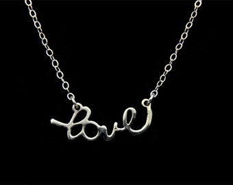 All Sterling silver Love charm Necklace