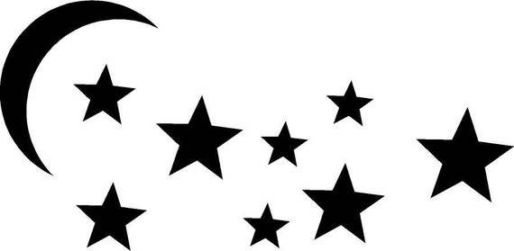 moon and stars vector clipart