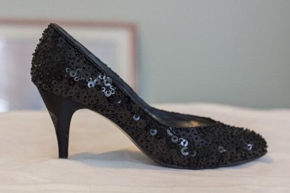1980s impo black sequin shoes size 7b