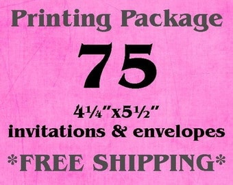 "75 Single-Sided, Full Color 4.25""x5.5"" Invitations/Announcements AND Envelopes"