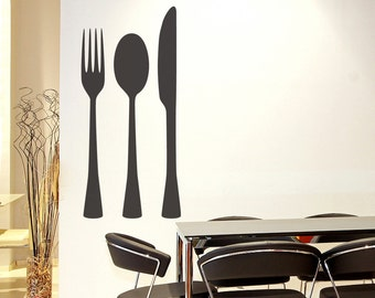 Silverware Set Vinyl Wall Art Decal size LARGE - Kitchen Decor Wall Art Decal, Utensil Wall Art, Cutlery Wall Art, Fork Knife Spoon Decals