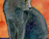 ACEO ATC Cat Russian Blue on Orange Siri Watercolor Tiny Art Print DelPesco