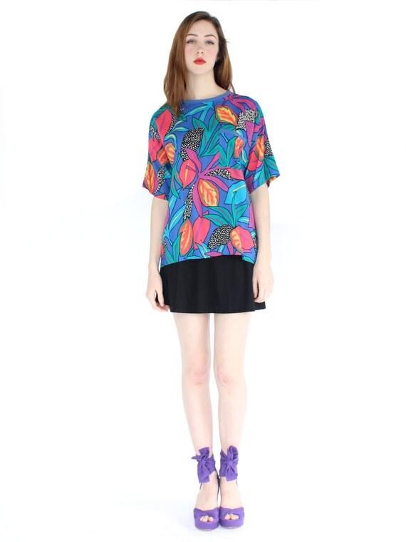 vintage 1980's all over print TROPIC TEE plant rayon shirt