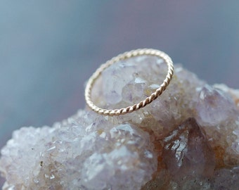 Gold Twist Ring, 14k Yellow Gold Stacking Ring, Twisted Band, Nautical Ring, Rope Ring, Recycled Gold, Ethical Ecofriendly Handmade Jewelry