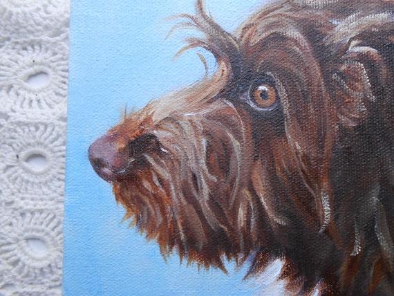 Custom Pet Portrait, Wire haired Pointing Griffon, Artist Robin Zebley Art