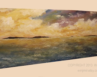 SALE---Large Painting, Tropical Islands, Seascape, Ocean Sunset, Clouds, Beach House, Home Decor, Office Decor, Wall Art, Colorful, Winjimir