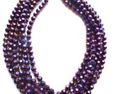 The Rebecca- Faceted Purple Glass Statement Necklace