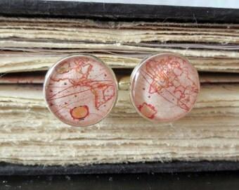 World Traveler Resin Cufflinks - Vintage World Map Cufflinks - Father's Day- Groom- Best man - Groomsmen