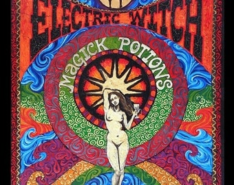 Electric Witch Magick Potions 11x14 Fine Art Print Psychedelic Gypsy Circus Goddess Art