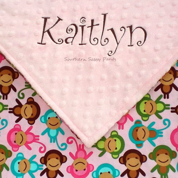 Personalized Pink Monkey Baby Blanket