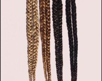 Pair of Single Long Hair Braids on elastic- CUSTOM MADE
