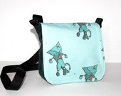 Zombie cat bag - blue shoulder bag with adjustable strap and pink stripy lining - lolita goth messenger