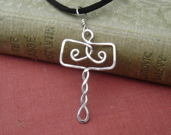 Norse Thor's Hammer Pendant, Mjolnir Celtic Pendant Necklace - Sterling Silver Wire - Celtic Jewelry, Unisex, Men, Women