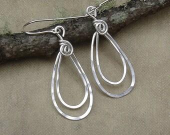 Small Silver Double Teardrop Earrings, Sterling Silver Earrings, Hammered Silver Hoops, Teardrop Hoop Earrings, Women Gift for Her Dangle