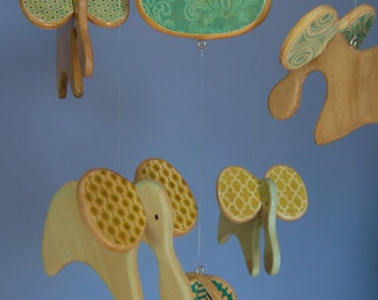 Baby Mobile - Baby Crib Mobile - Wooden Elephants Mobile for a Modern Nursery (Blue Green)