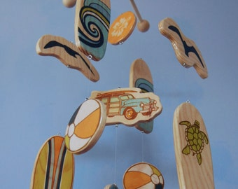 Baby Mobile - Surfboards - Surf or Beach Baby Nursery - Woody Car and Seagulls