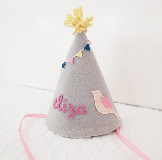 Girls Felt Birthday Hat Bird With Bunting Gray And Pink By